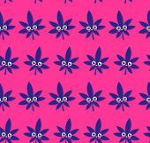 Weed Cannabis Leaf Character Seamless Pattern. Vector Flat Stylish Modern Trendy Illustration Icon D poster