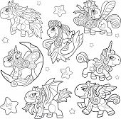 Cartoon Cute Little Pony Coloring Book Funny Illustration poster