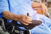 Asian Senior Or Elderly Old Lady Woman Patient On Electric Wheelchair With Remote Control At Nursing poster