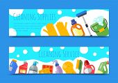 Cleaning Supplies Banner Household Bottle Plastic Liquid Detergent Product Vector Illustration. Clea poster