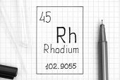 The Periodic Table Of Elements. Handwriting Chemical Element Rhodium Rh With Black Pen, Test Tube An poster