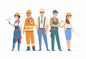 Builders And Engineers Characters. Construction Workers And Business Peoples, Men And Women In Profe poster