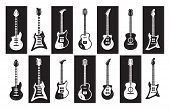 Guitars. Black And White Electric And Acoustic Rock Guitars Of Different Types. Vector Minimalist Is poster