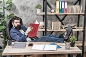 Financial Report. Owner Of Small Business. Man Bearded Businessman Sit Office Read Business Report.  poster