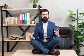 Self Care. Psychological Help. Relaxation Techniques. Mental Wellbeing And Relax. Man Bearded Manage poster