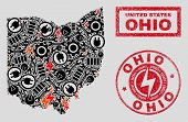 Composition Of Mosaic Power Supply Ohio State Map And Grunge Seals. Collage Vector Ohio State Map Is poster