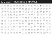 Big Set Of 170 Business And Finance Web Icons In Line Style. Money, Bank, Contact, Infographic. Icon poster