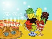 Ice Cream Summer Holidays Poster Natural Fresh And Cold Sweet Food Vector Illustration. Healthy Home poster