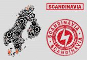 Composition Of Mosaic Power Supply Scandinavia Map And Grunge Stamps. Collage Vector Scandinavia Map poster