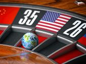 Earth as a ball of casino roulette with american USA flag in winning number. Time of world leadershi poster
