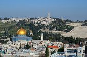 Landmarks such as Dome of the Rock in the Old City of Jerusalem, Israel. poster