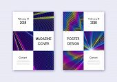 Business Cover Design Template Set. Rainbow Abstract Lines On Dark Blue Background. Awesome Cover De poster