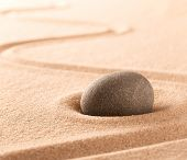 Spa wellness or mindfulness stone and sand garden. Concentration or focus point for spiritual balanc poster