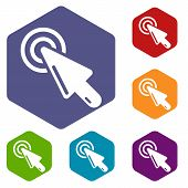 Cursor Clicking Icon. Simple Illustration Of Cursor Clicking Vector Icon For Web poster