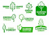 Green Leaf And Tree Icons, Company Corporate Identity Symbols. Vector Green Park Area, Garden Zone A poster