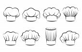 Cook Chef Hats Icons. Hand Drawn Chefs Toque Vector Illustration, Kitchen Cooker Caps Isolated On Wh poster