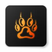 Orange Glowing Paw Print Icon Isolated On White Background. Dog Or Cat Paw Print. Animal Track. Blac poster