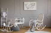 Grey Whale On Poster In Classy Baby Room Interior With White Wooden Rocking Chair, Rocking Horse, Cr poster