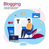 Vector Illustration Inscription Blogging Cartoon. Bearded Man Sitting In Chair With Laptop. Guy Writ poster