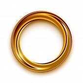 Golden Shining Circle Text Frame Illustration. Glowing Round Border With Copyspace On White Backgrou poster