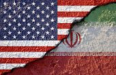 Usa Flag And Iran Flag On Cracked Wall Damage. United State Of America And Iran Have Conflict In Nuc poster