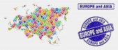 Vector Colorful Mosaic Europe And Asia Map And Grunge Seals. Abstract Europe And Asia Map Is Compose poster