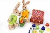A Pair Of Cute Soft Hare Toys. Children Toy Dishes. Toy Soft Hares. Toy On A White Background poster