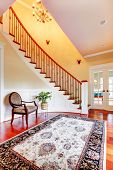 Entrance With Curved Staircase And Luxury Rug With Chair.