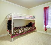 pic of bunk-bed  - Kids simple bedroom with double bunk metal bed - JPG