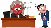 Business Cartoon - Devil Boss Man and Employee