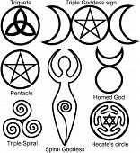 stock photo of goddess  - Set of the Wiccan symbols - JPG
