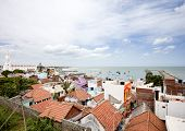 picture of vivekananda  - Aerial view of village with its colorful houses and the harbor with its fishing boats - JPG