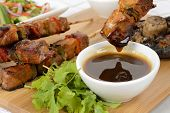 stock photo of dipping  - Pork Kebabs  - JPG