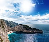 The famous Navagio in Zakynthos, Greece