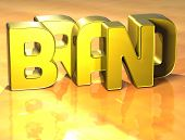 3D Word Brand On Yellow Background poster