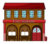 image of fire-station  - Illustration of a fire station on a white background - JPG