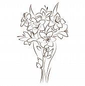 stock photo of tuberose  - floral design of ornamental flowers bouquet - JPG