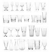 foto of shot glasses  - glasses collection isolated on a white  - JPG