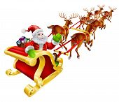 stock photo of sled  - Christmas illustration of Cartoon Santa Claus flying in his sled or sleigh and waving - JPG