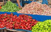 stock photo of mullet  - Fresh Organic Vegetables At A Turkish Street Market