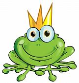 stock photo of pet frog  - funny frog prince cartoon with crown  - JPG