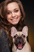foto of french bulldog puppy  - Portrait of beautiful girl with french bulldog puppy - JPG