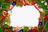 stock photo of candy cane border  - Beautiful blank card for christmas greetings with decoration - JPG