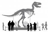 stock photo of skeleton  - Editable vector silhouettes of people looking at a Tyrannosaurus rex skeleton in a museum - JPG