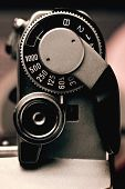 Old Film Camera Detail Of The Trigger And Shutter Speed Control