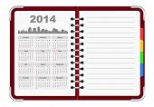 picture of august calendar  - calendar 2014 organizer notepad - JPG
