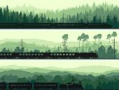 Horizontal Banners Of Locomotive, Train And Hills Coniferous Wood.