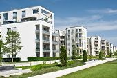 stock photo of munich residence  - A newly completed housing estate in a summer setting - JPG