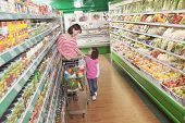 pic of medium-  length hair  - Mother and Daughter in Supermarket Shopping - JPG