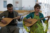ZAGREB,CROATIA - JULY 17: Members of Music Society Payiz from Kurdistan, Irak in Kurdish national co